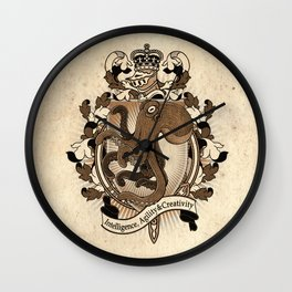 Octopus Coat Of Arms Heraldry Wall Clock