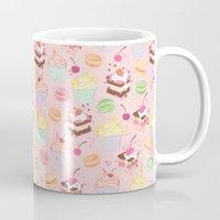 macaroon Mugs featuring sweet pattern aka cake , cupcake and macaroon by Marta Olga Klara