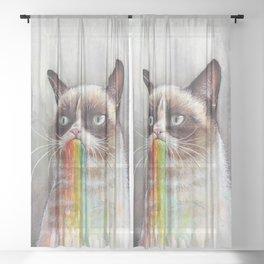 Cat Tastes the Grumpy Rainbow Sheer Curtain