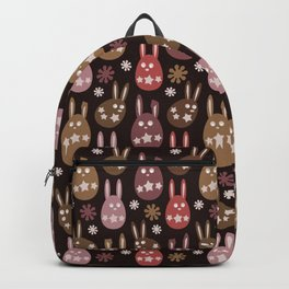 Chocolate Cream Orange Easter Egg Bunny Pattern - Brown Series Backpack