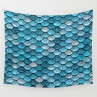 bisexual Wall Tapestries featuring light turquoise sparkling scales by Better HOME