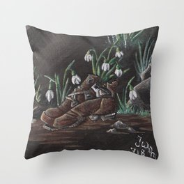 Snowdrop and a shoe Throw Pillow
