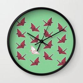 PAPER CRANES RASPBERRY MINT Wall Clock