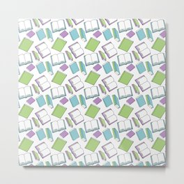 Doodle Books - Pattern in Green, Purple and Blue on a white background Metal Print