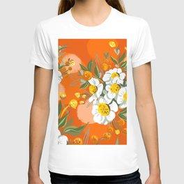 Orange Poppy Flowers Chinoiserie T-shirt