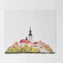 Slovenia Bled Lake pilgrimage church Throw Blanket