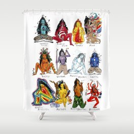 Her Moods - Watercolor Chart of the Emotions of the Female Mind Shower Curtain