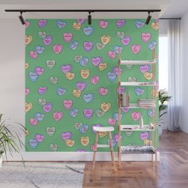Feminist Valentine Candy Hearts in Green, Kween Wall Mural