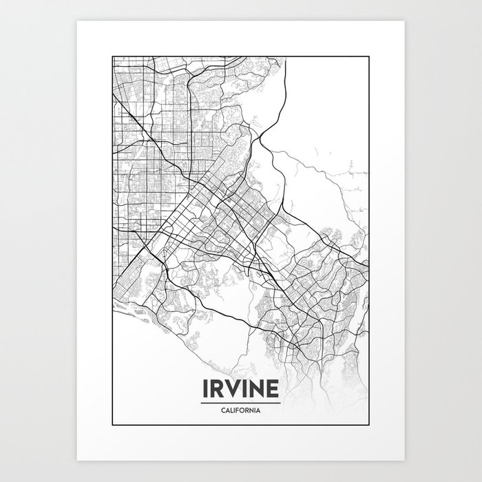 Minimal City Maps - Map Of Irvine, California, United States Art Print by  valsymot