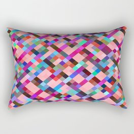 geometric pixel square pattern abstract background in pink purple blue yellow green Rectangular Pillow