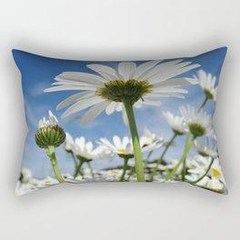 Daisy Flowers, Petals, Blossoms - White Green Rectangular Pillow