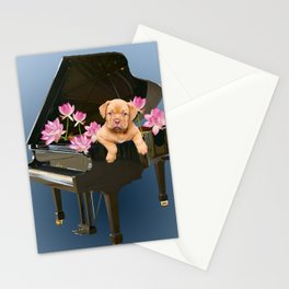 Bordeaux Bulldog in Piano with Lotus Flower Blossoms  Stationery Cards