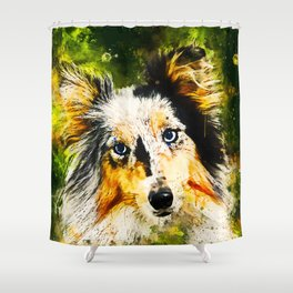 border collie dog 5 portrait wsstd Shower Curtain