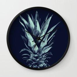 Navy Blue Pineapple Dream #1 #tropical #fruit #decor #art #society6 Wall Clock