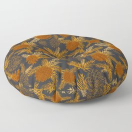 Pinecone Leaves in Black and Burnt Orange Floor Pillow