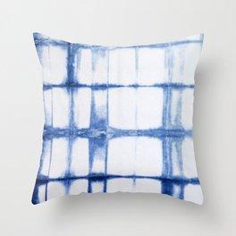 Shibori Blue - Rectangles Throw Pillow
