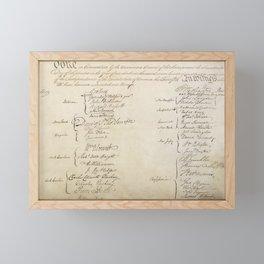 United States Constitution Signatures Framed Mini Art Print