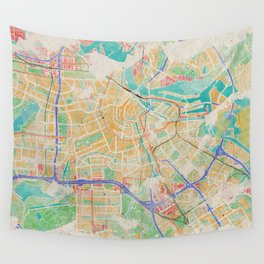Amsterdam in Watercolor Wall Tapestry