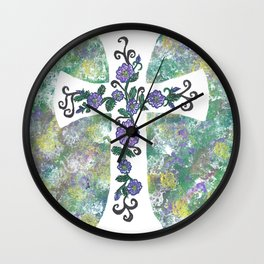 Celtic Cross with Rose of Sharon Swag Wall Clock
