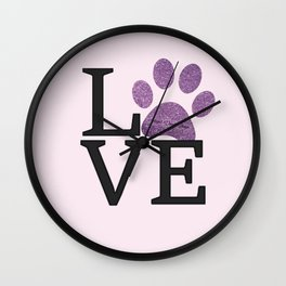 Love is a Four Letter Word - purple paw Wall Clock