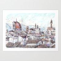 magnani Art Prints featuring Florence at Dusk from Palazzo Magnani Feroni by John Douglas