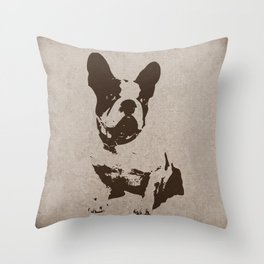 FRENCH BULLDOG IN SEPIA Throw Pillow