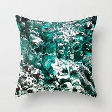 Turquoise Bubbles Photograph Macro photo Throw Pillow