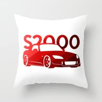honda Throw Pillows featuring Honda S2000 - classic red - by Vehicle