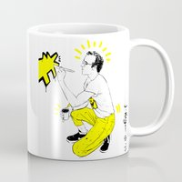 keith haring Mugs featuring KEITH- Yellow  by TheJuanReyes