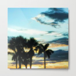 Glowing Palm Trees Metal Print