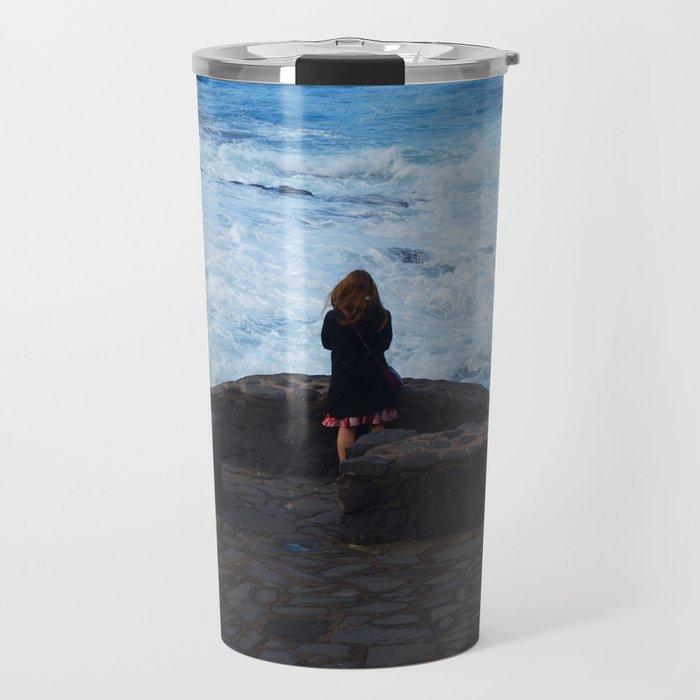 Ocean lover, meditation in front of the sea Travel Mug