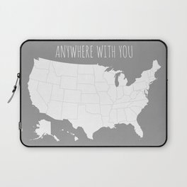 Anywhere With You USA Map in Grey Laptop Sleeve