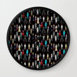 Heroes Scattered Pattern Black Wall Clock