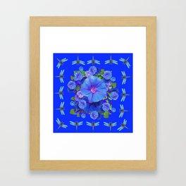 BLUE MORNING GLORIES DRAGONFLIES ART Framed Art Print