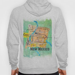 USA New Mexico State Illustrated Travel Poster Favorite Map Hoody
