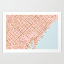 Barcelona map, Spain Art Print