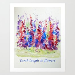 Flower bed in full bloom 'Earth laughs in flowers' Art Print