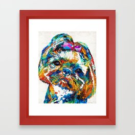 Colorful Shih Tzu Dog Art By Sharon Cummings Framed Art Print