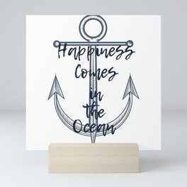 Happiness comes in the ocean Mini Art Print