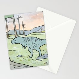 Tyrannsaurus Rex and Volcano Stationery Cards
