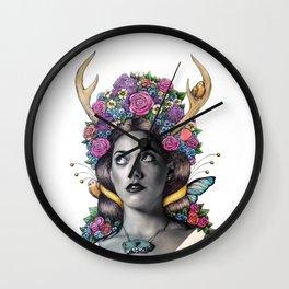 Flowered Prongs Wall Clock