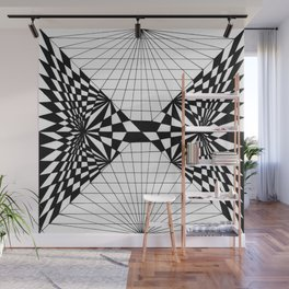 Abstract butterfly on perspective grid Wall Mural