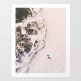 The Beach and the Aqua Polka Dot Umbrella Art Print