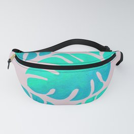 Monstera Leaves on Pink Fanny Pack