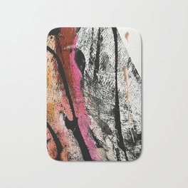 Motivation [2] : a colorful, vibrant abstract piece in pink red, gold, black and white Bath Mat