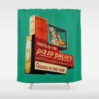 pizza Shower Curtains featuring Pizza by Hazel Bellhop