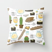 bread Throw Pillows featuring Bread by Ceren Aksu Dikenci
