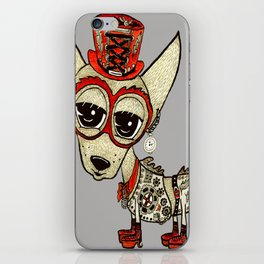 Steampunk Chihuahua gray grey iPhone Skin
