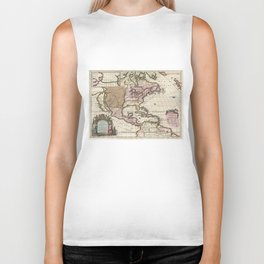 Vintage Map of The Americas (1698) Biker Tank