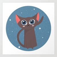 space cat Art Prints featuring Space cat by Alex Fabri